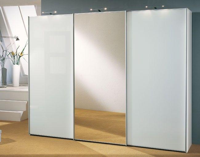 "Трехстворчатый шкаф - купе белый с зеркалом "" каталог "" мебе."